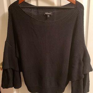 Black Express Ruffled Sleeve Sweater